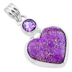 11.70cts heart purple purpurite stichtite amethyst 925 silver pendant t23089
