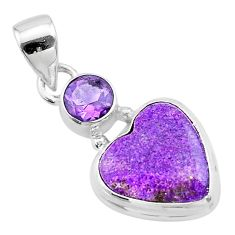 8.65cts heart purple purpurite stichtite amethyst 925 silver pendant t23091