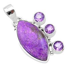 14.10cts natural purple purpurite stichtite amethyst 925 silver pendant t30423
