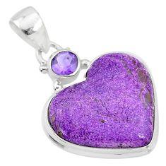 13.10cts natural purple purpurite stichtite amethyst 925 silver pendant t4126
