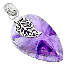 26.53cts natural purple star amethyst 925 silver deltoid leaf pendant r91379