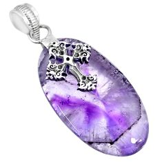 25.09cts natural purple star amethyst 925 silver holy cross pendant r91376
