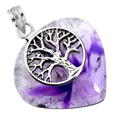 40.91cts natural purple star amethyst 925 silver tree of life pendant r91374