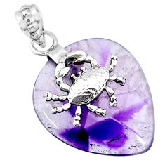 24.61cts natural purple star amethyst 925 sterling silver crab pendant r91368