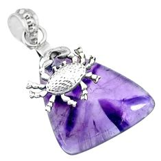 26.53cts natural purple star amethyst 925 sterling silver crab pendant r91375
