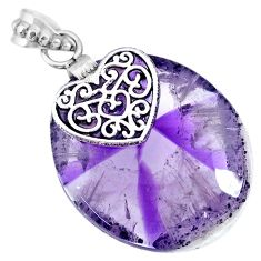 34.51cts natural purple star amethyst 925 sterling silver heart pendant r91367