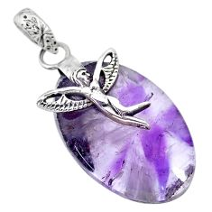 25.09cts natural purple star amethyst silver angel wings fairy pendant r91372