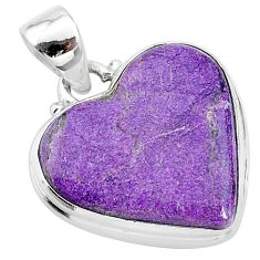 12.58cts natural purple stichtite 925 sterling silver pendant jewelry t13384