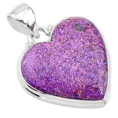17.22cts natural purple stichtite 925 sterling silver pendant jewelry t13391