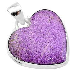 16.23cts natural purple stichtite 925 sterling silver pendant jewelry t13394