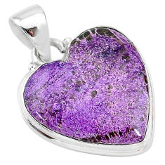 15.20cts natural purple stichtite 925 sterling silver pendant jewelry t13399