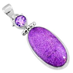 14.72cts natural purple stichtite amethyst 925 sterling silver pendant r66128