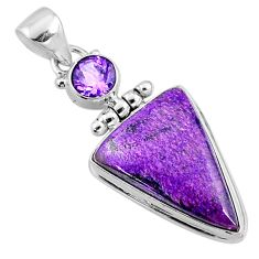 14.57cts natural purple stichtite amethyst 925 sterling silver pendant r66130