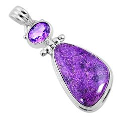 15.65cts natural purple stichtite amethyst 925 sterling silver pendant r66138