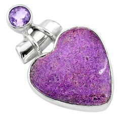 11.20cts natural purple stichtite amethyst 925 sterling silver pendant t13141