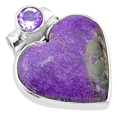 11.68cts natural purple stichtite amethyst 925 sterling silver pendant t13142