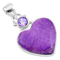 11.57cts natural purple stichtite amethyst 925 sterling silver pendant t13148