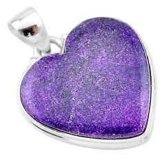 16.70cts natural purple stichtite heart 925 sterling silver pendant t13393