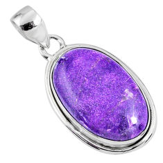 13.70cts natural purple stichtite oval sterling silver pendant jewelry r60846