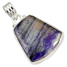 Clearance Sale- 18.15cts natural purple sugilite 925 sterling silver pendant jewelry d44240