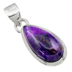 10.55cts natural purple sugilite 925 sterling silver pendant jewelry r44479