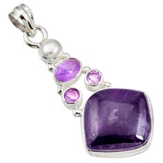 Clearance Sale- 22.02cts natural purple sugilite amethyst 925 sterling silver pendant d44234