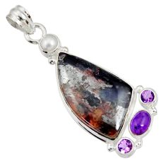 Clearance Sale- 26.16cts natural purple sugilite amethyst 925 sterling silver pendant d44236
