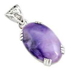 16.90cts natural purple tiffany stone 925 sterling silver pendant jewelry r20163