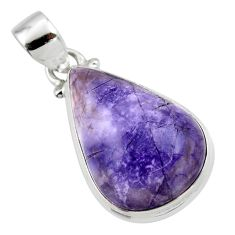 13.22cts natural purple tiffany stone 925 sterling silver pendant jewelry r46210
