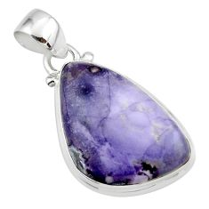 12.60cts natural purple tiffany stone 925 sterling silver pendant jewelry r46213
