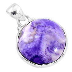 12.22cts natural purple tiffany stone 925 sterling silver pendant jewelry r94617