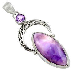 22.44cts natural purple tiffany stone amethyst 925 silver pendant r39118