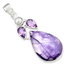 17.42cts natural purple tiffany stone amethyst pear 925 silver pendant r19610