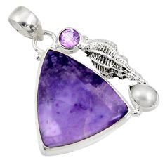 Clearance Sale- 23.15cts natural purple tiffany stone amethyst pearl 925 silver pendant d43566