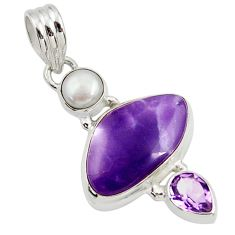 Clearance Sale- 12.62cts natural purple tiffany stone amethyst pearl 925 silver pendant d45426