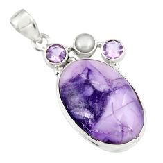 18.15cts natural purple tiffany stone amethyst pearl 925 silver pendant r19606