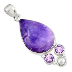 14.45cts natural purple tiffany stone amethyst pearl 925 silver pendant r19607