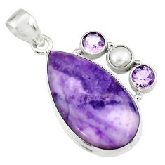 16.49cts natural purple tiffany stone amethyst pearl 925 silver pendant r19609