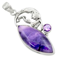 29.40cts natural purple tiffany stone silver crescent moon star pendant r39109