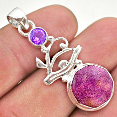 6.10cts natural purpurite stichtite amethyst 925 silver horse eye pendant t46411