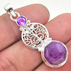 6.01cts natural purpurite stichtite amethyst silver tree of life pendant t46396