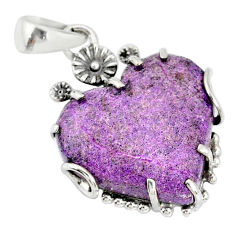 15.90cts natural purpurite stichtite heart 925 silver flower pendant r77855
