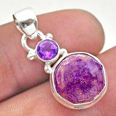 5.83cts natural purpurite stichtite hexagon amethyst 925 silver pendant t46452