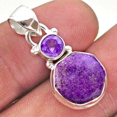 6.86cts natural purpurite stichtite hexagon amethyst 925 silver pendant t46469