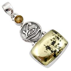 Clearance Sale- 17.80cts natural pyrite in magnetite (healer's gold) 925 silver pendant d42330