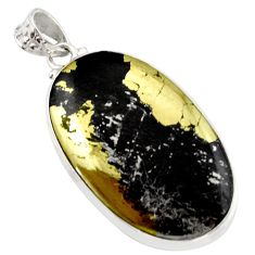 38.33cts natural pyrite in magnetite (healer's gold) 925 silver pendant d42331