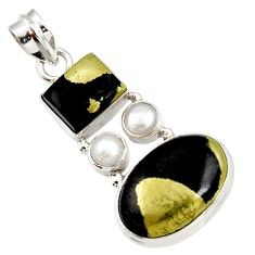Clearance Sale- 20.65cts natural pyrite in magnetite (healer's gold) 925 silver pendant d44214