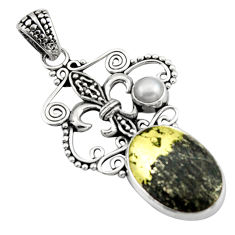 13.26cts natural pyrite in magnetite (healer's gold) 925 silver pendant d46634