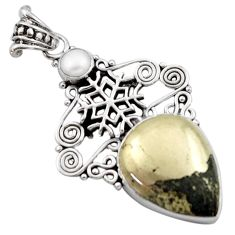 15.69cts natural pyrite in magnetite (healer's gold) 925 silver pendant d46667