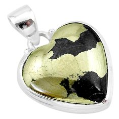 19.72cts natural pyrite in magnetite (healer's gold) 925 silver pendant t13349